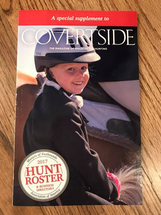 I think most folks have already seen this but our copies finally arrived! Gwen is the cover girl for the annual MFHA hunt roster. This was her very first hunt, spring 2016, I think she was only 5 at the time. Wearing her big sister's jacket (note rolled up sleeves) and a borrowed helmet. Thanks Zina Balash for the photo!! Go AHPC!