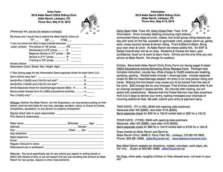Abbe Ranch USEA Riding Clinic is May 9-12, 2019.  Opening date is Tuesday April 2. Entry form, information and educational release form attached to this post or visit www.abberanchevents.com